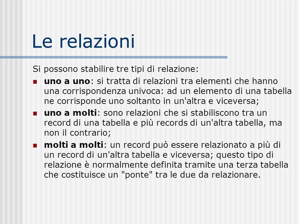 Le relazioni Si possono stabilire tre tipi di relazione: uno a uno: si tratta di relazioni tra elementi che hanno una corrispondenza univoca: ad un el