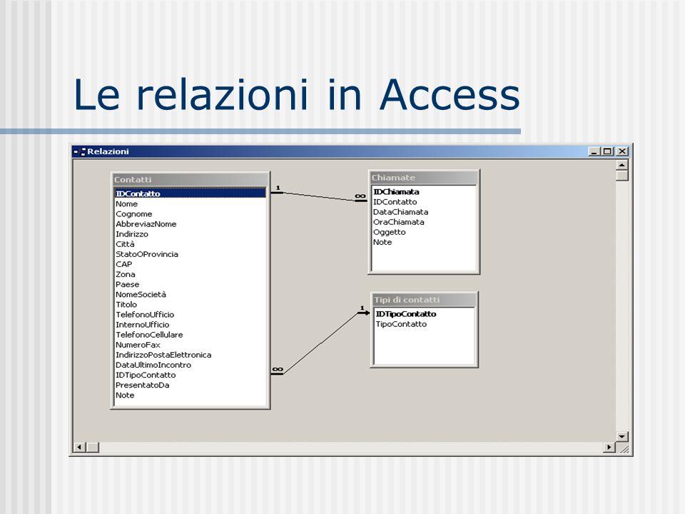 Le relazioni in Access