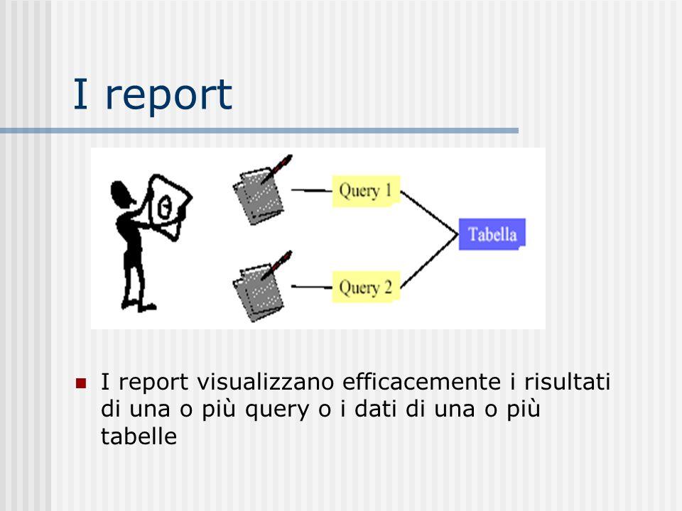 I report I report visualizzano efficacemente i risultati di una o più query o i dati di una o più tabelle
