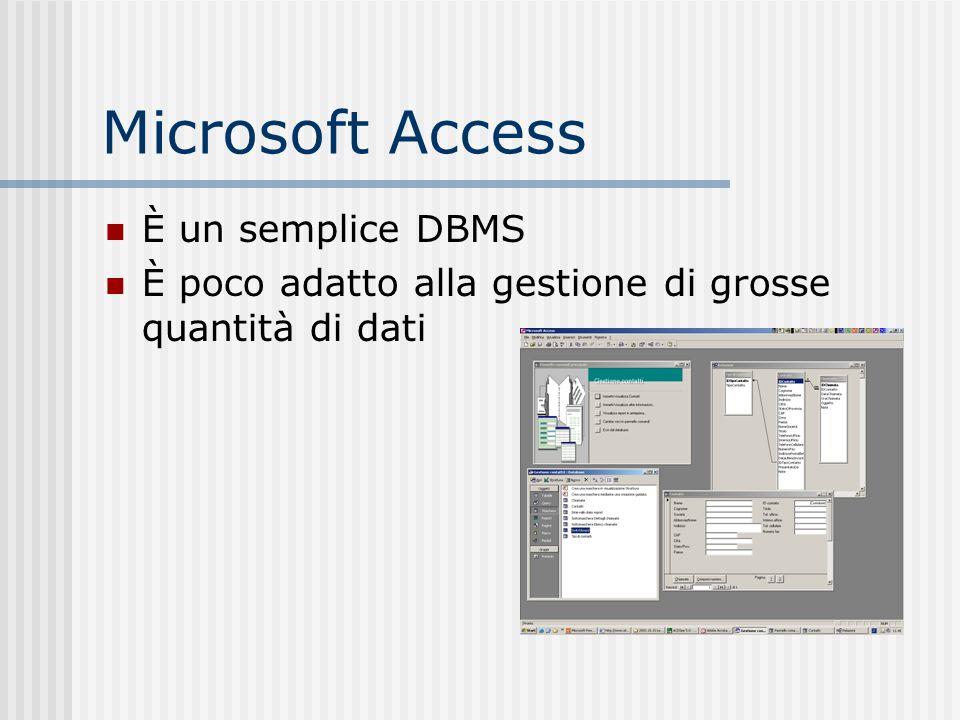 Microsoft Access È un semplice DBMS È poco adatto alla gestione di grosse quantità di dati