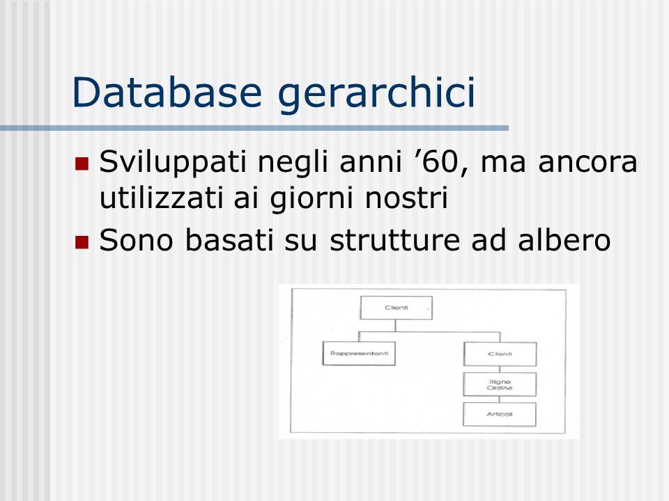 Database gerarchici Sviluppati negli anni 60, ma ancora utilizzati ai giorni nostri Sono basati su strutture ad albero