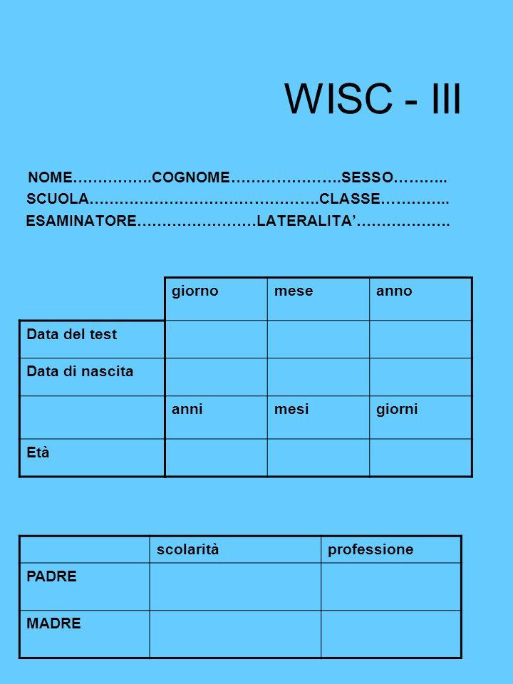 WISC - III NOME…………….COGNOME………………….SESSO……….. SCUOLA……………………………………….CLASSE………….. ESAMINATORE……………………LATERALITA………………. Data del test Data di nascita E