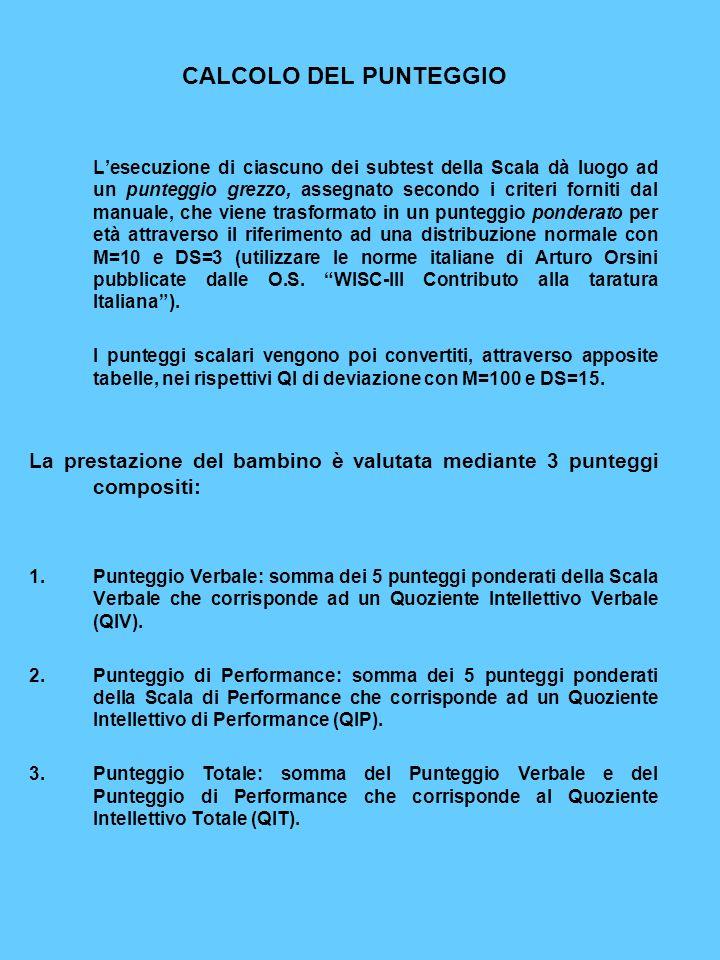 CALCOLO DEL PUNTEGGIO Lesecuzione di ciascuno dei subtest della Scala dà luogo ad un punteggio grezzo, assegnato secondo i criteri forniti dal manuale