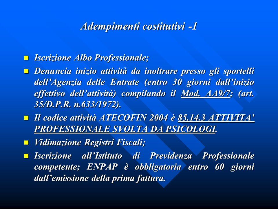 Adempimenti costitutivi -1 Iscrizione Albo Professionale; Iscrizione Albo Professionale; Denuncia inizio attività da inoltrare presso gli sportelli de