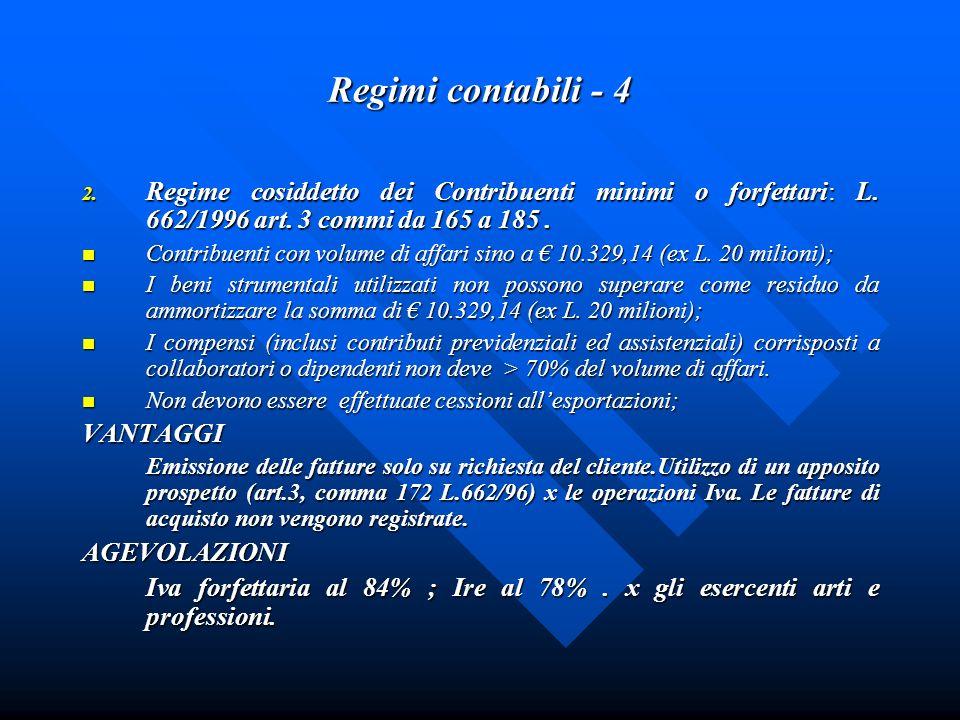 Regimi contabili - 4 2. Regime cosiddetto dei Contribuenti minimi o forfettari: L. 662/1996 art. 3 commi da 165 a 185. Contribuenti con volume di affa