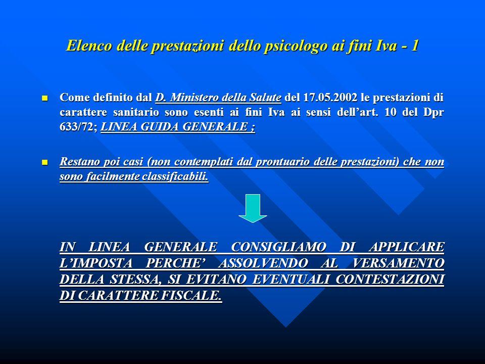 Elenco delle prestazioni dello psicologo ai fini Iva - 1 Come definito dal D. Ministero della Salute del 17.05.2002 le prestazioni di carattere sanita