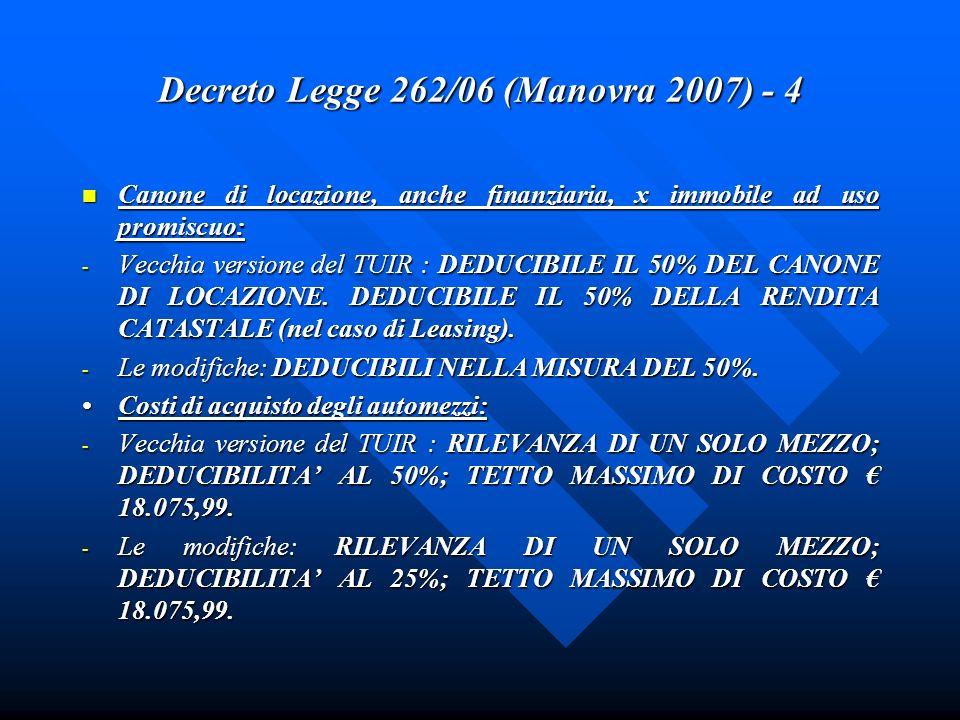 Decreto Legge 262/06 (Manovra 2007) - 4 Canone di locazione, anche finanziaria, x immobile ad uso promiscuo: Canone di locazione, anche finanziaria, x