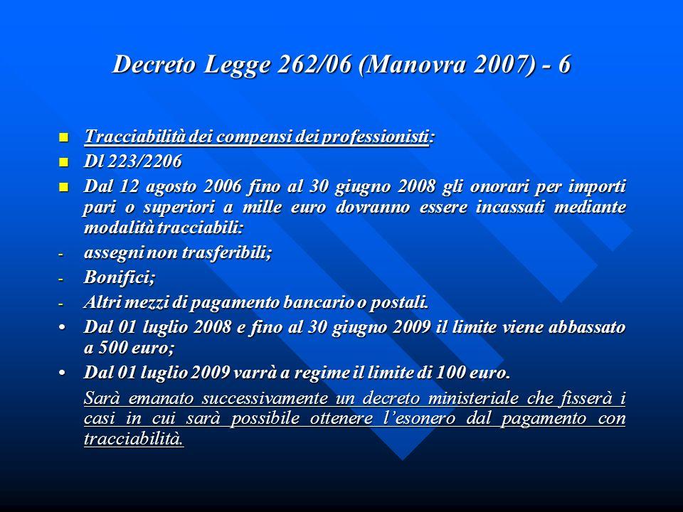 Decreto Legge 262/06 (Manovra 2007) - 6 Tracciabilità dei compensi dei professionisti: Tracciabilità dei compensi dei professionisti: Dl 223/2206 Dl 2