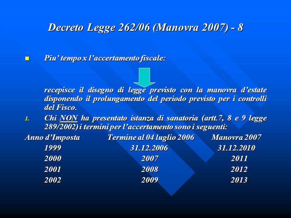 Decreto Legge 262/06 (Manovra 2007) - 8 Piu tempo x laccertamento fiscale: Piu tempo x laccertamento fiscale: recepisce il disegno di legge previsto c