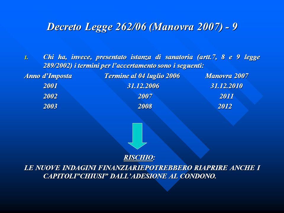 Decreto Legge 262/06 (Manovra 2007) - 9 1. Chi ha, invece, presentato istanza di sanatoria (artt.7, 8 e 9 legge 289/2002) i termini per laccertamento