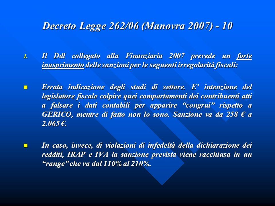 Decreto Legge 262/06 (Manovra 2007) - 10 1. Il Ddl collegato alla Finanziaria 2007 prevede un forte inasprimento delle sanzioni per le seguenti irrego