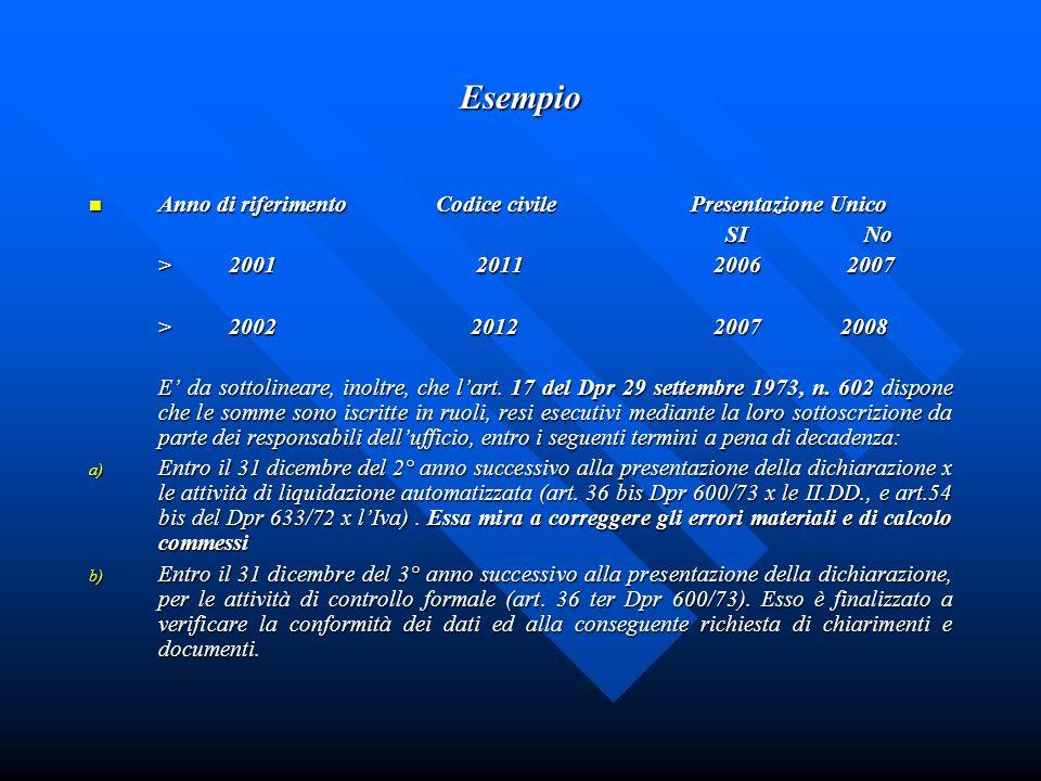 Esempio Anno di riferimento Codice civile Presentazione Unico Anno di riferimento Codice civile Presentazione Unico SI No SI No > 2001 2011 2006 2007