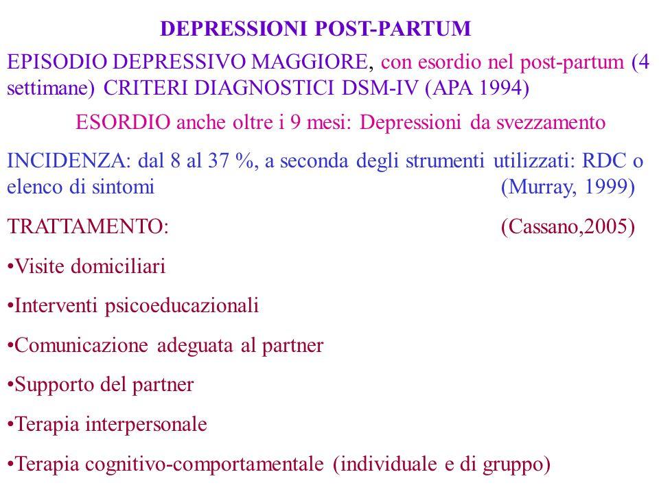 DEPRESSIONI POST-PARTUM EPISODIO DEPRESSIVO MAGGIORE, con esordio nel post-partum (4 settimane) CRITERI DIAGNOSTICI DSM-IV (APA 1994) ESORDIO anche ol