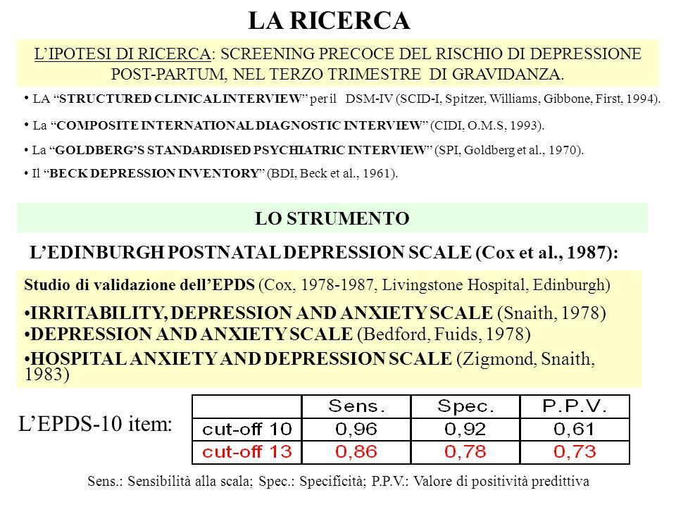 LIPOTESI DI RICERCA: SCREENING PRECOCE DEL RISCHIO DI DEPRESSIONE POST-PARTUM, NEL TERZO TRIMESTRE DI GRAVIDANZA. LA RICERCA LO STRUMENTO LEDINBURGH P