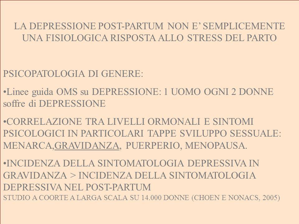LA DEPRESSIONE POST-PARTUM NON E SEMPLICEMENTE UNA FISIOLOGICA RISPOSTA ALLO STRESS DEL PARTO PSICOPATOLOGIA DI GENERE: Linee guida OMS su DEPRESSIONE