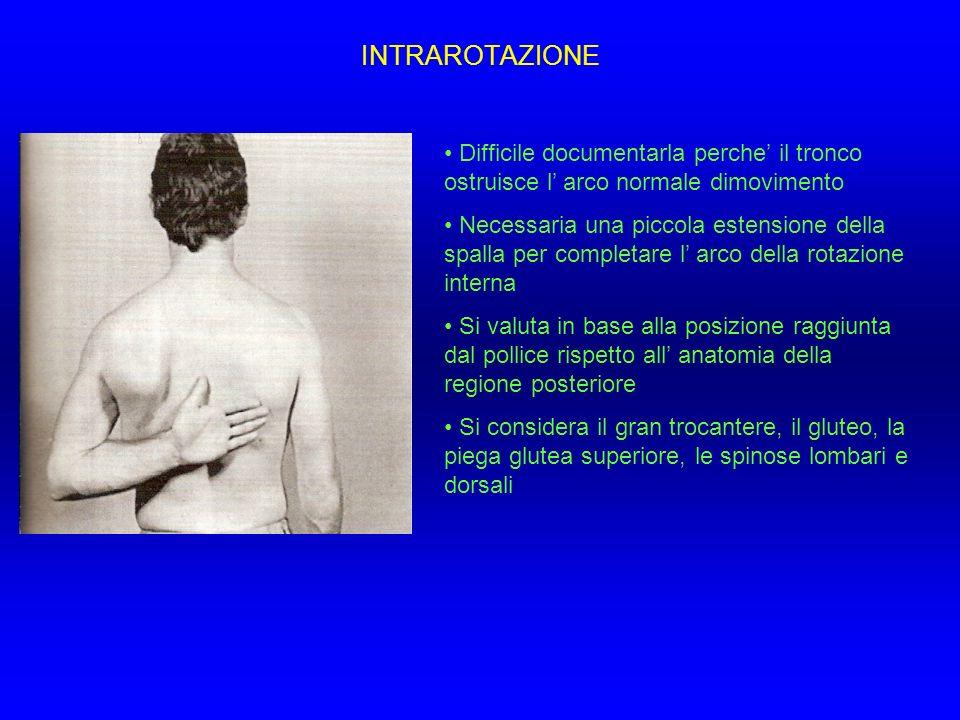 INTRAROTAZIONE Difficile documentarla perche il tronco ostruisce l arco normale dimovimento Necessaria una piccola estensione della spalla per complet