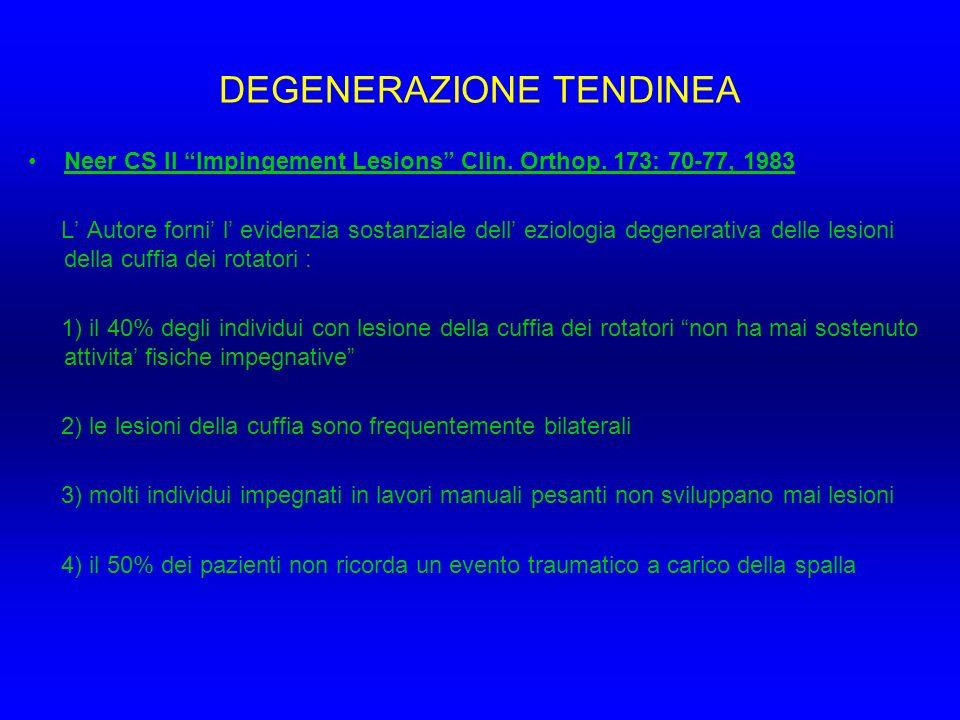 DEGENERAZIONE TENDINEA Neer CS II Impingement Lesions Clin. Orthop. 173: 70-77, 1983 L Autore forni l evidenzia sostanziale dell eziologia degenerativ