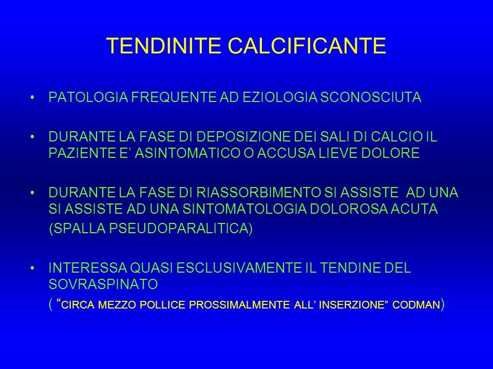 TENDINITE CALCIFICANTE PATOLOGIA FREQUENTE AD EZIOLOGIA SCONOSCIUTA DURANTE LA FASE DI DEPOSIZIONE DEI SALI DI CALCIO IL PAZIENTE E ASINTOMATICO O ACC