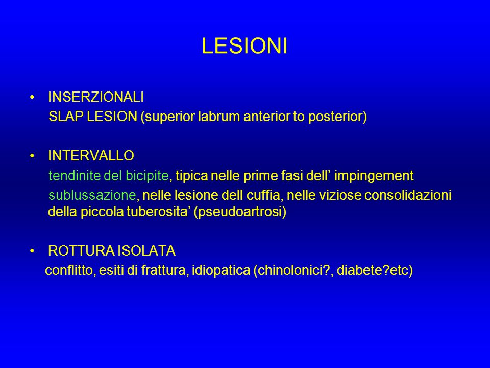 LESIONI INSERZIONALI SLAP LESION (superior labrum anterior to posterior) INTERVALLO tendinite del bicipite, tipica nelle prime fasi dell impingement s