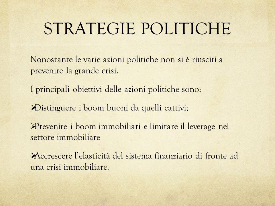 STRATEGIE POLITICHE Nonostante le varie azioni politiche non si è riusciti a prevenire la grande crisi. I principali obiettivi delle azioni politiche