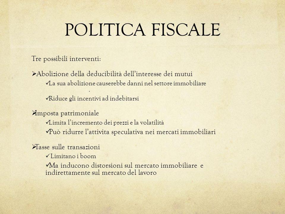 POLITICA FISCALE Tre possibili interventi: Abolizione della deducibilità dellinteresse dei mutui La sua abolizione causerebbe danni nel settore immobiliare.