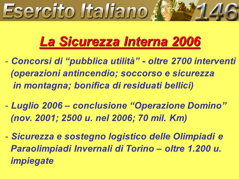 La Sicurezza Interna 2006 - Concorsi di pubblica utilità - oltre 2700 interventi (operazioni antincendio; soccorso e sicurezza in montagna; bonifica d