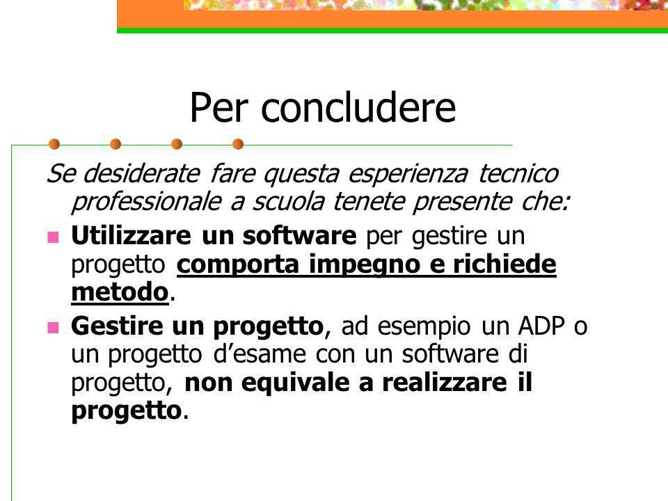 Per concludere Se desiderate fare questa esperienza tecnico professionale a scuola tenete presente che: Utilizzare un software per gestire un progetto