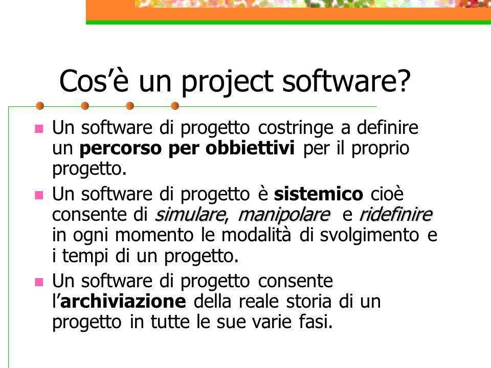 Cosè un project software? Un software di progetto costringe a definire un percorso per obbiettivi per il proprio progetto. simularemanipolareridefinir