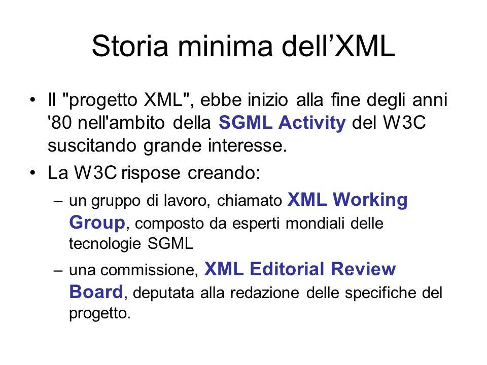 Storia minima dellXML Il progetto XML , ebbe inizio alla fine degli anni 80 nell ambito della SGML Activity del W3C suscitando grande interesse.