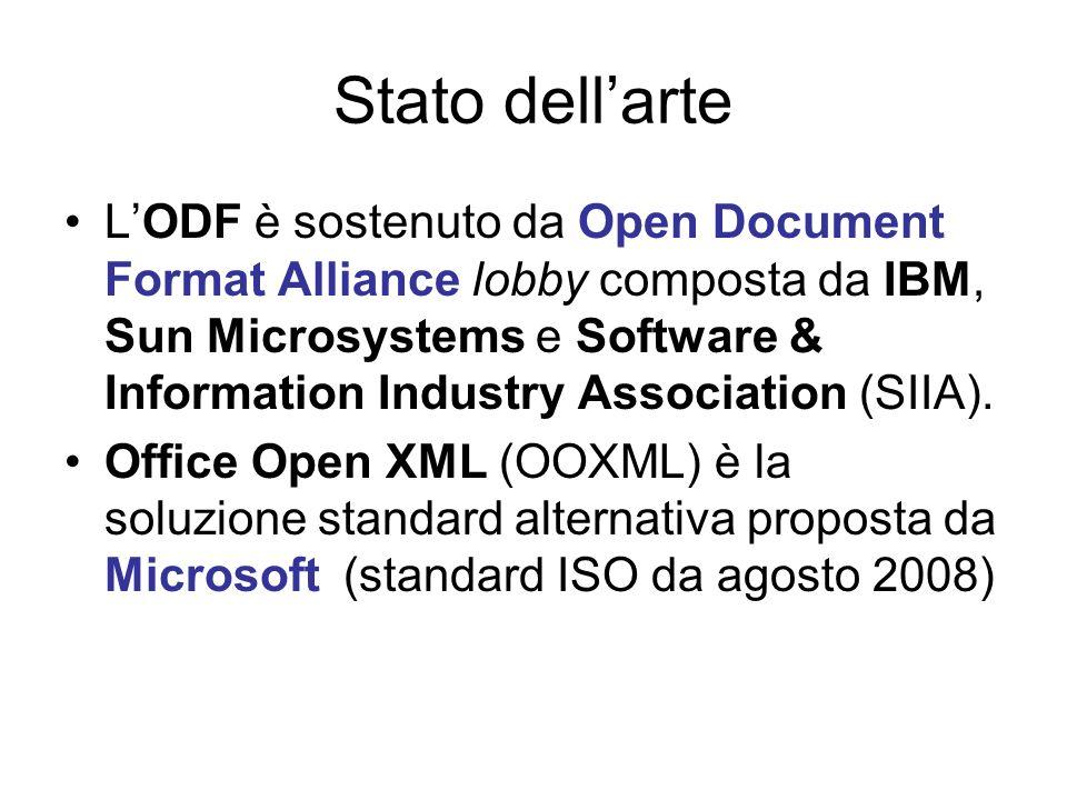 Standard e specifiche 25 gennaio 2007 OpenDocument è diventato uno standard italiano, rilasciato da UNI/UNINFO con la sigla: –UNI CEI ISO/IEC 26300.