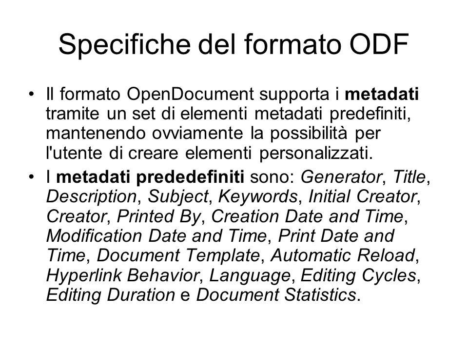 Funzionalità generiche Funzionalità semplici: –intestazioni di vario livello, liste di tipi diversi (numerate o meno), paragrafi numerati, mantenere una traccia dei cambiamenti effettuati.