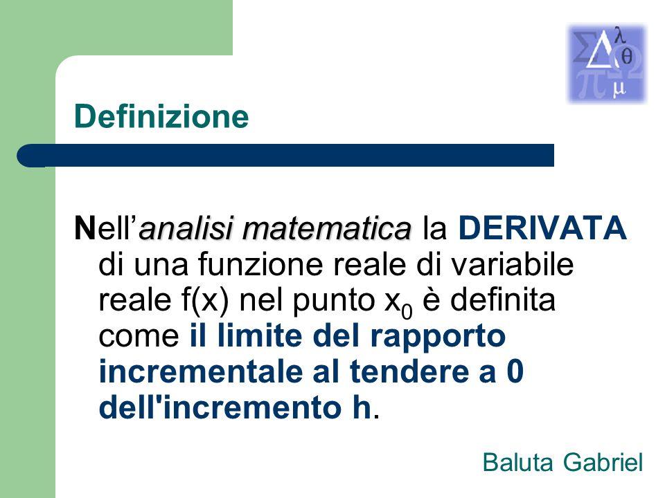 Definizione analisi matematica Nellanalisi matematica la DERIVATA di una funzione reale di variabile reale f(x) nel punto x 0 è definita come il limit