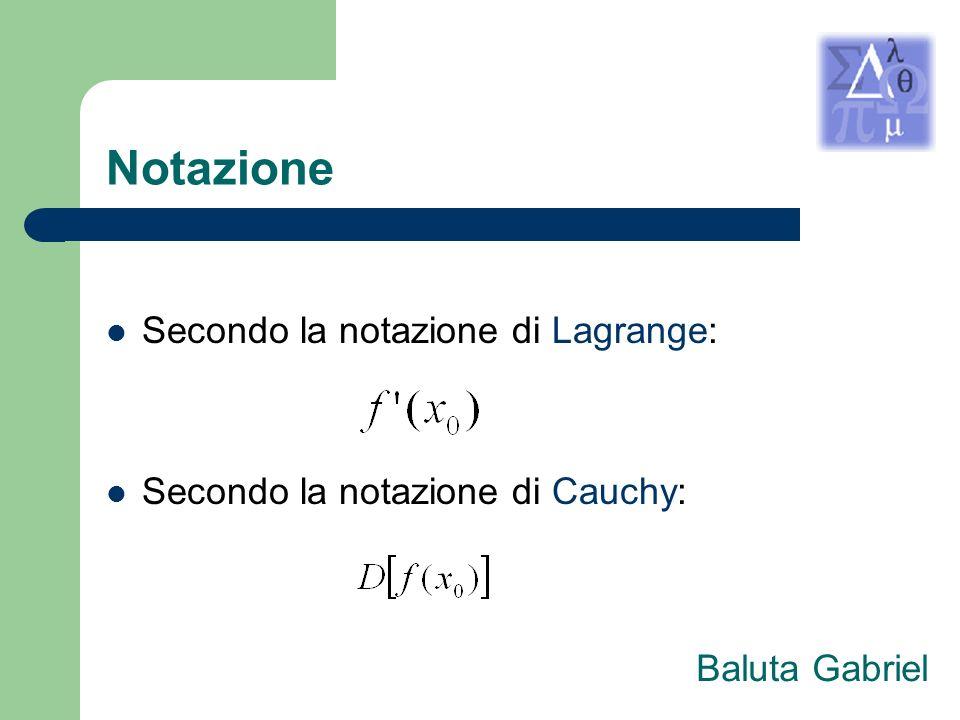 Notazione Secondo la notazione di Lagrange: Secondo la notazione di Cauchy: Baluta Gabriel