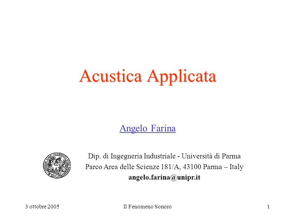 3 ottobre 2005Il Fenomeno Sonoro1 Acustica Applicata Angelo Farina Dip. di Ingegneria Industriale - Università di Parma Parco Area delle Scienze 181/A