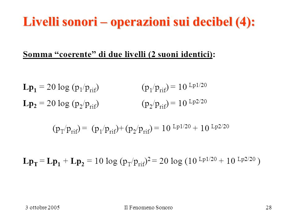 3 ottobre 2005Il Fenomeno Sonoro28 Livelli sonori – operazioni sui decibel (4): Somma coerente di due livelli (2 suoni identici): Lp 1 = 20 log (p 1 /