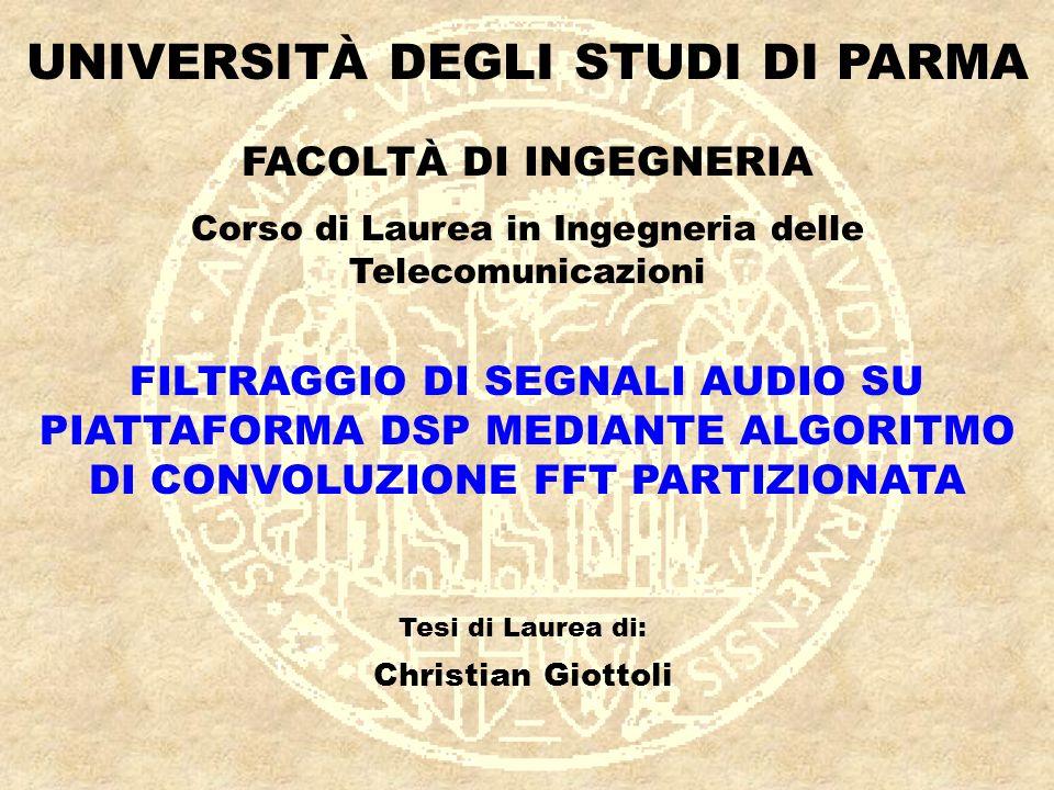 Filtraggio di segnali audio su piattaforma DSP mediante algoritmo di convoluzione FFT partizionata Parma, 29/04/2003 11 SIMULAZIONI MATLAB Convoluzione (Matlab) Overlap Save Part.