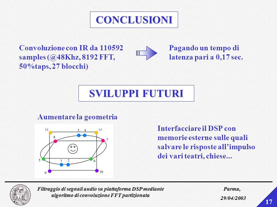 Filtraggio di segnali audio su piattaforma DSP mediante algoritmo di convoluzione FFT partizionata Parma, 29/04/2003 16 PROVE DASCOLTO Stop 4 riverber