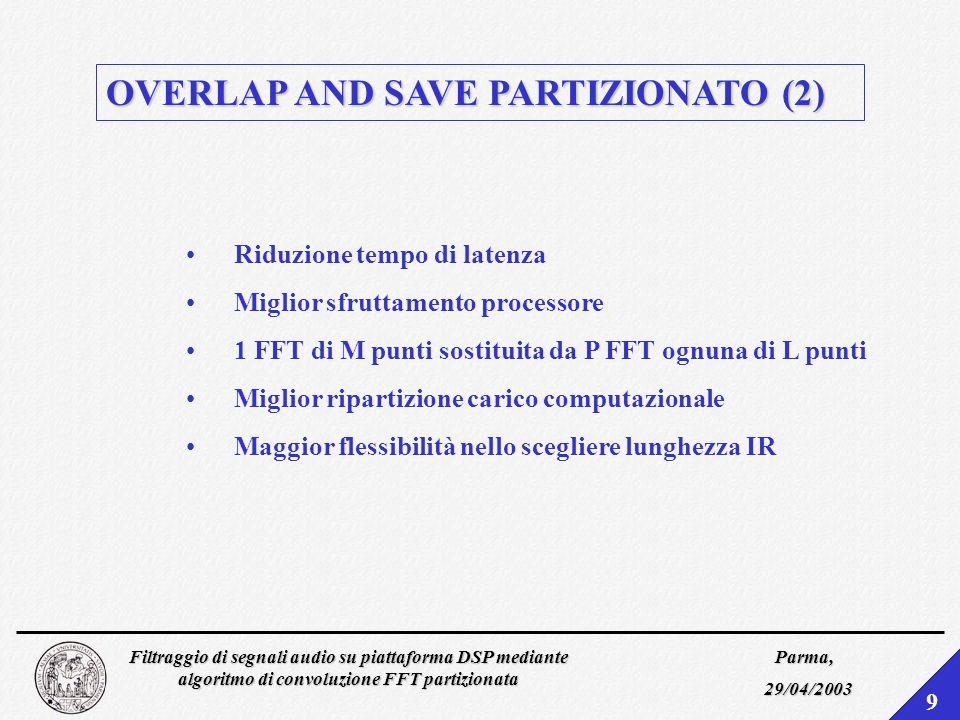 Filtraggio di segnali audio su piattaforma DSP mediante algoritmo di convoluzione FFT partizionata Parma, 29/04/2003 9 OVERLAP AND SAVE PARTIZIONATO (2) Riduzione tempo di latenza Miglior sfruttamento processore 1 FFT di M punti sostituita da P FFT ognuna di L punti Miglior ripartizione carico computazionale Maggior flessibilità nello scegliere lunghezza IR