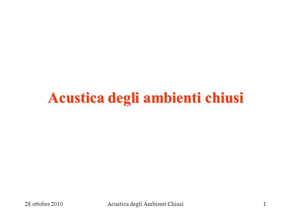 28 ottobre 2010Acustica degli Ambienti Chiusi1 Acustica degli ambienti chiusi