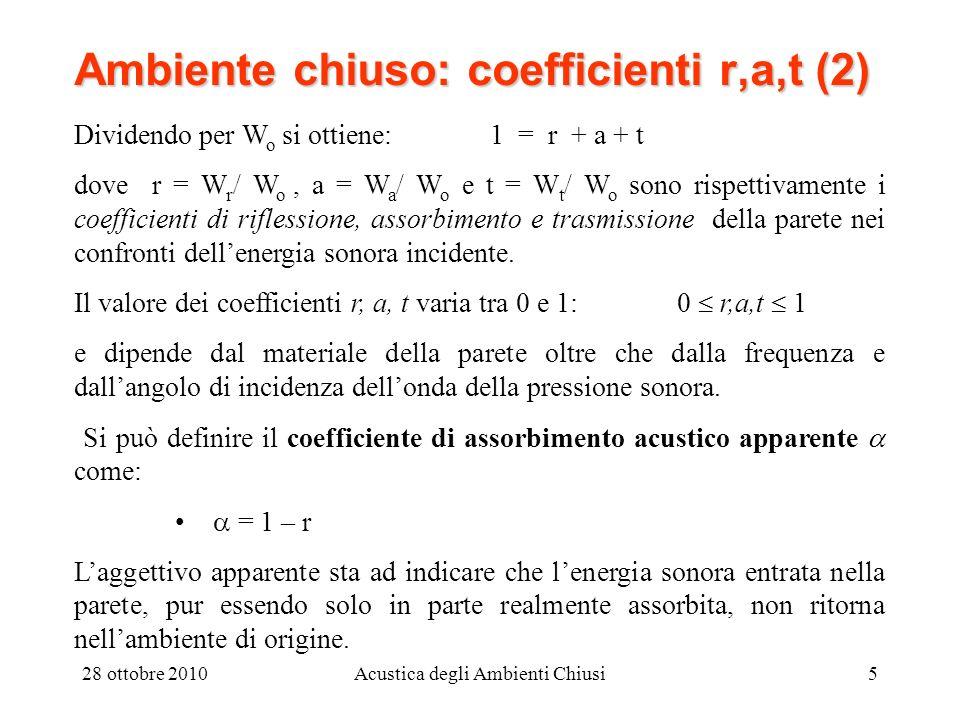 28 ottobre 2010Acustica degli Ambienti Chiusi5 Ambiente chiuso: coefficienti r,a,t (2) Dividendo per W o si ottiene: 1 = r + a + t dove r = W r / W o,