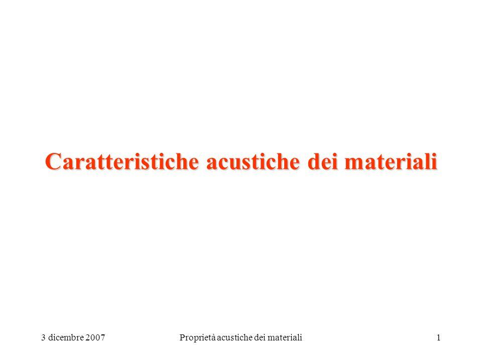 3 dicembre 2007Proprietà acustiche dei materiali1 Caratteristiche acustiche dei materiali