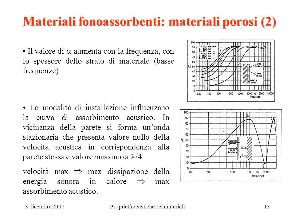 3 dicembre 2007Proprietà acustiche dei materiali13 Materiali fonoassorbenti: materiali porosi (2) Il valore di aumenta con la frequenza, con lo spesso