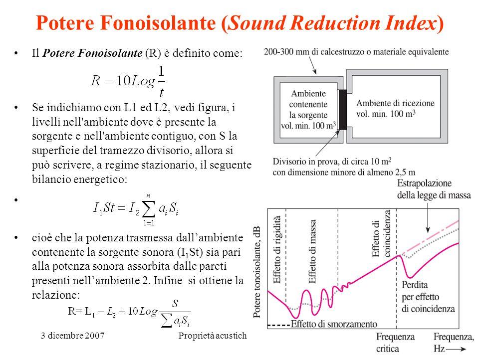 3 dicembre 2007Proprietà acustiche dei materiali7 Potere Fonoisolante (Sound Reduction Index) Il Potere Fonoisolante (R) è definito come: Se indichiam