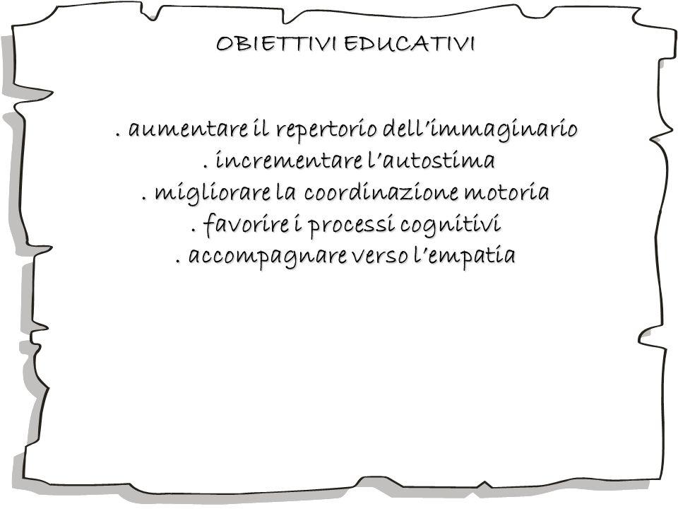 OBIETTIVI EDUCATIVI. aumentare il repertorio dellimmaginario. incrementare lautostima. incrementare lautostima. migliorare la coordinazione motoria. f