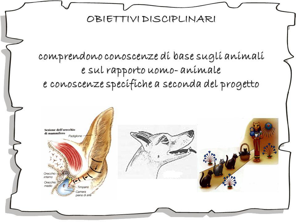 OBIETTIVI DISCIPLINARI comprendono conoscenze di base sugli animali e sul rapporto uomo- animale e conoscenze specifiche a seconda del progetto