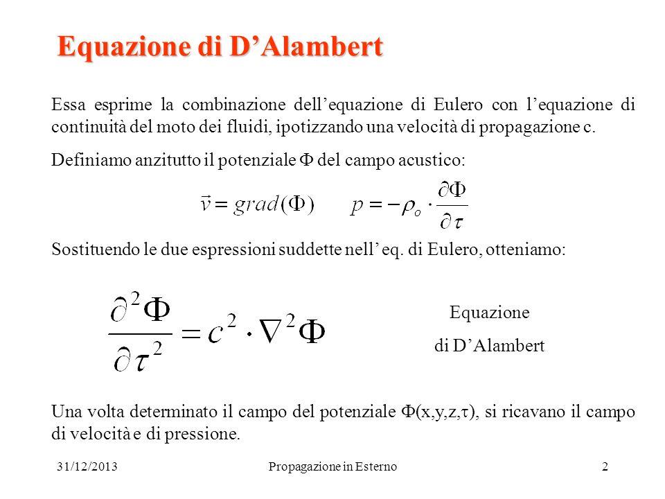 31/12/2013Propagazione in Esterno2 Equazione di DAlambert Essa esprime la combinazione dellequazione di Eulero con lequazione di continuità del moto d