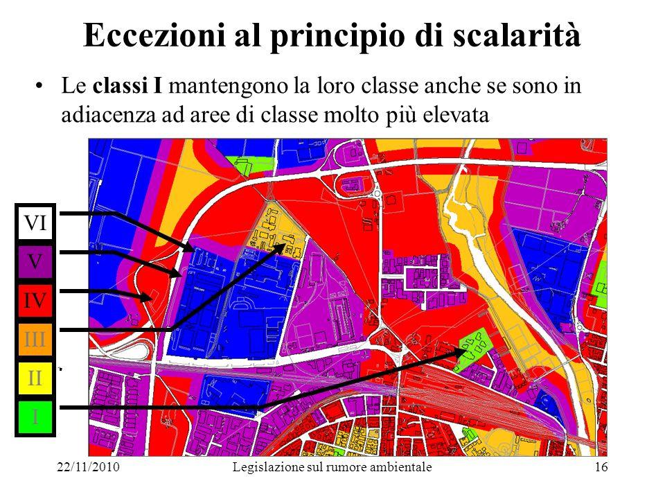 22/11/2010Legislazione sul rumore ambientale16 Eccezioni al principio di scalarità Le classi I mantengono la loro classe anche se sono in adiacenza ad