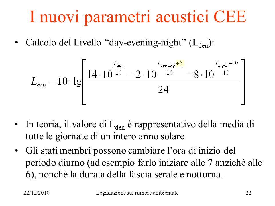 22/11/2010Legislazione sul rumore ambientale22 I nuovi parametri acustici CEE Calcolo del Livello day-evening-night (L den ): In teoria, il valore di