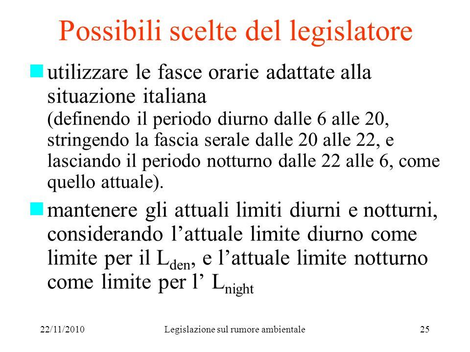 22/11/2010Legislazione sul rumore ambientale25 Possibili scelte del legislatore utilizzare le fasce orarie adattate alla situazione italiana (definend