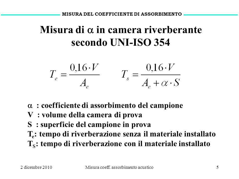 2 dicembre 2010Misura coeff. assorbimento acustico5 MISURA DEL COEFFICIENTE DI ASSORBIMENTO : coefficiente di assorbimento del campione V : volume del